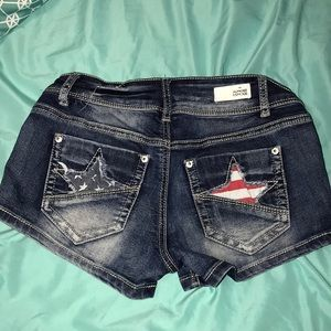 Red, white and blue denim shorts